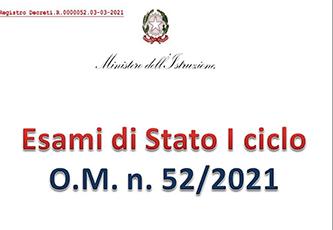 Esame di Stato Primo ciclo a.s. 2020/2021: Ordinanza Ministeriale n. 52 del 03.03.201 e slide presentazione principali novità